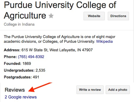 google rating screenshot